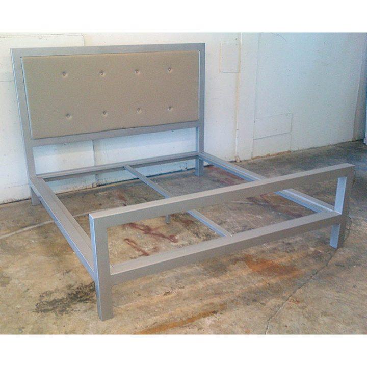 Aluminum platform bed w/Button Tuck Queen Headboard
